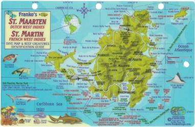 St. Maarten Dutch West Indies, St. Martin French West Indies, Dive Map by Frankos Maps Ltd.