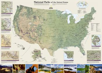 National Parks of the United States Wall Map - Laminated (42 x 30 inches) by National Geographic Maps