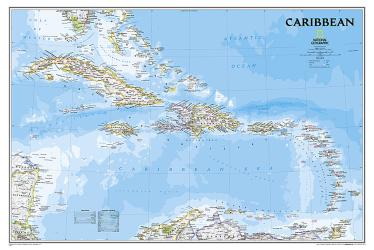 Caribbean, Classic, sleeved by National Geographic Maps