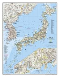 Japan and Korea, Laminated by National Geographic Maps