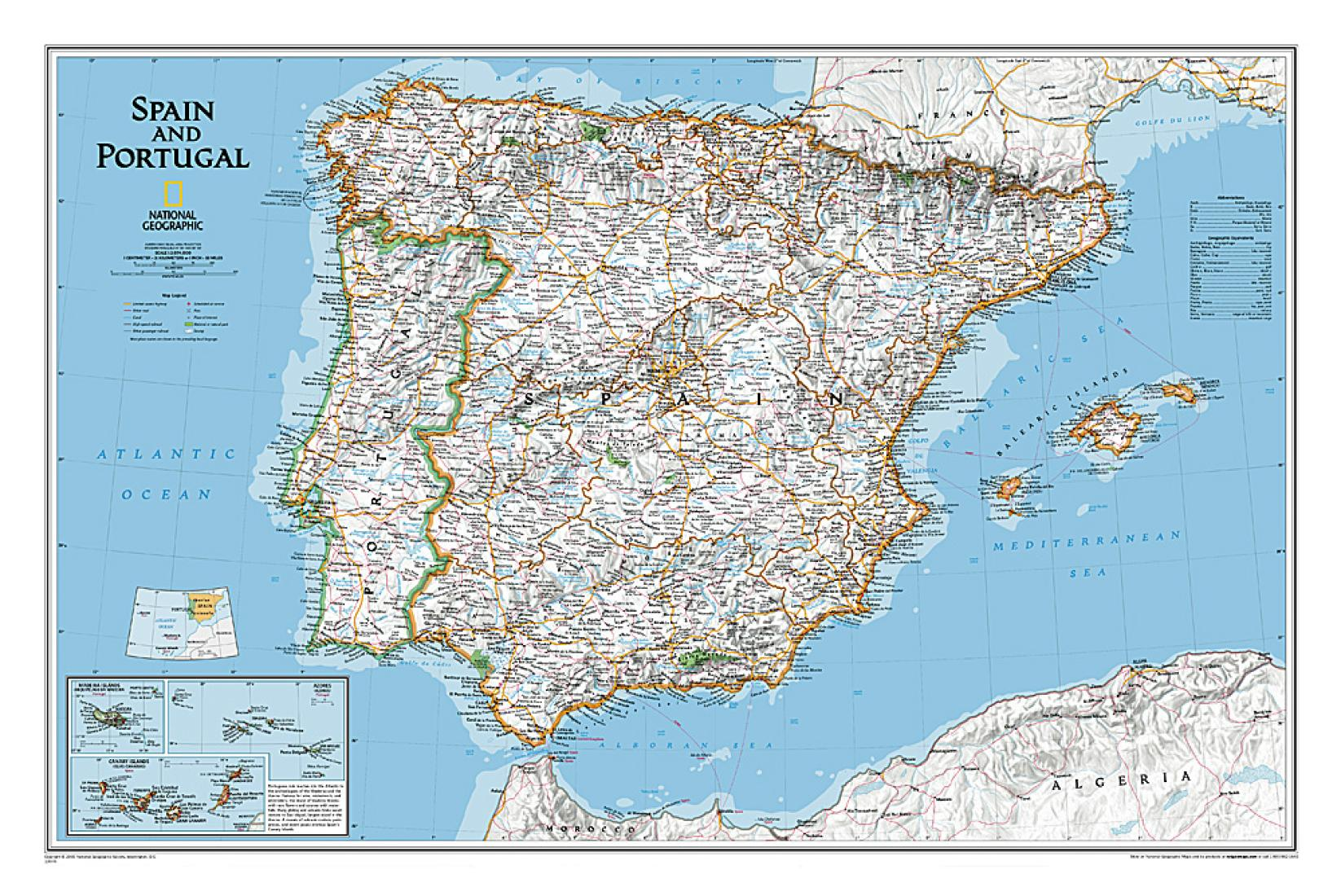 Big Map Of Spain.Spain And Portugal Classic Wall Map Laminated 33 X 22 Inches By National Geographic Maps