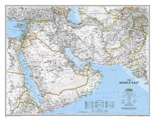 Middle East Classic Wall Map (30.25 x 23.5 inches) by National Geographic Maps