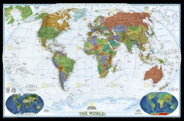 World, Decorator, Enlarged and Sleeved by National Geographic Maps