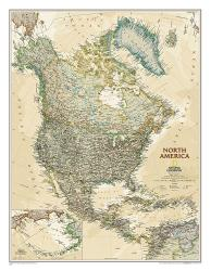 North America, Executive, Laminated by National Geographic Maps