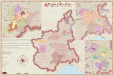 Italy, Piedmont, Wine Regions by Vinmaps