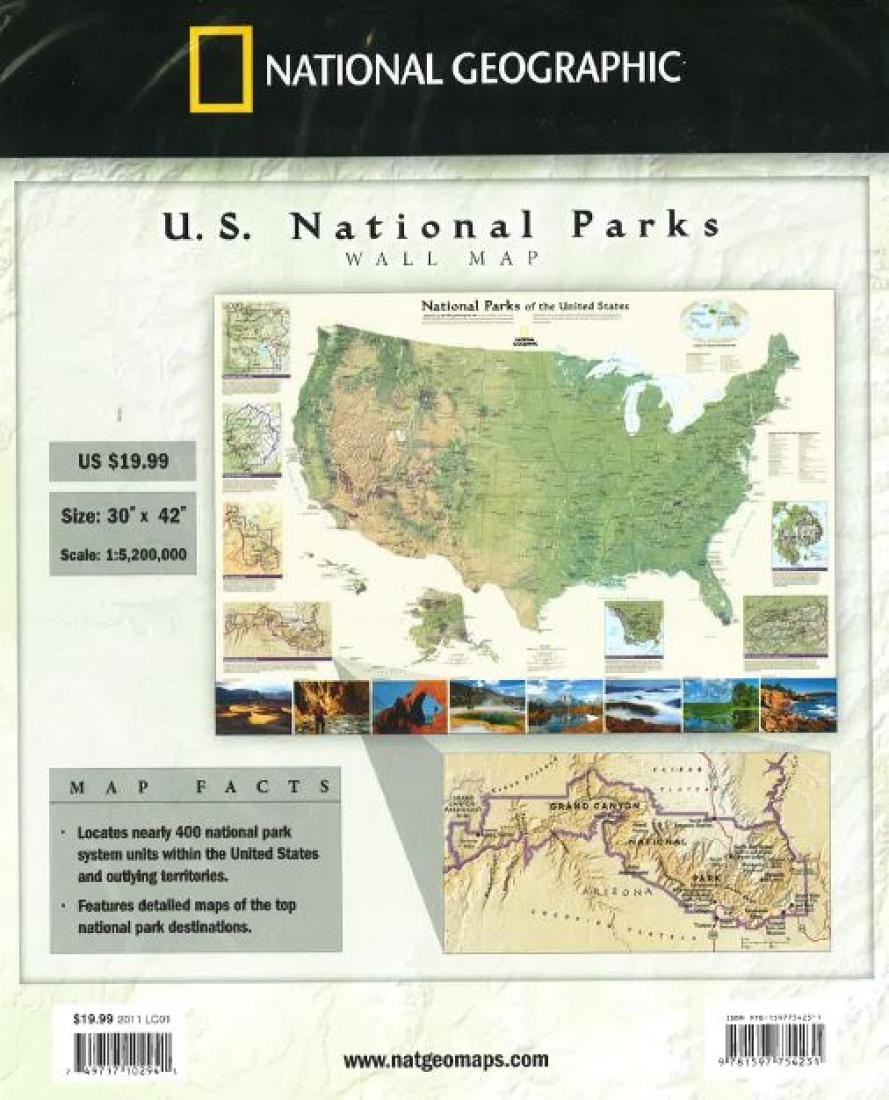 United States Map Of National Parks.National Parks Of The United States Wall Map By National Geographic