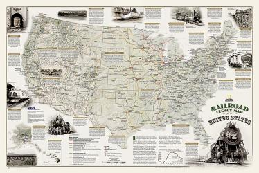 Railroad Legacy Map of the United States Wall Map (36 x 24 inches) by National Geographic Maps