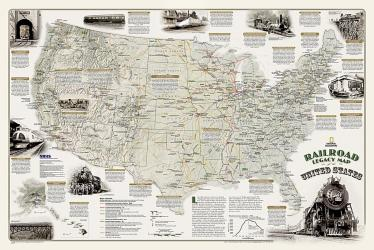 Railroad Legacy Map of the United States in gift box Wall Map (36 x 24 inches) by National Geographic Maps