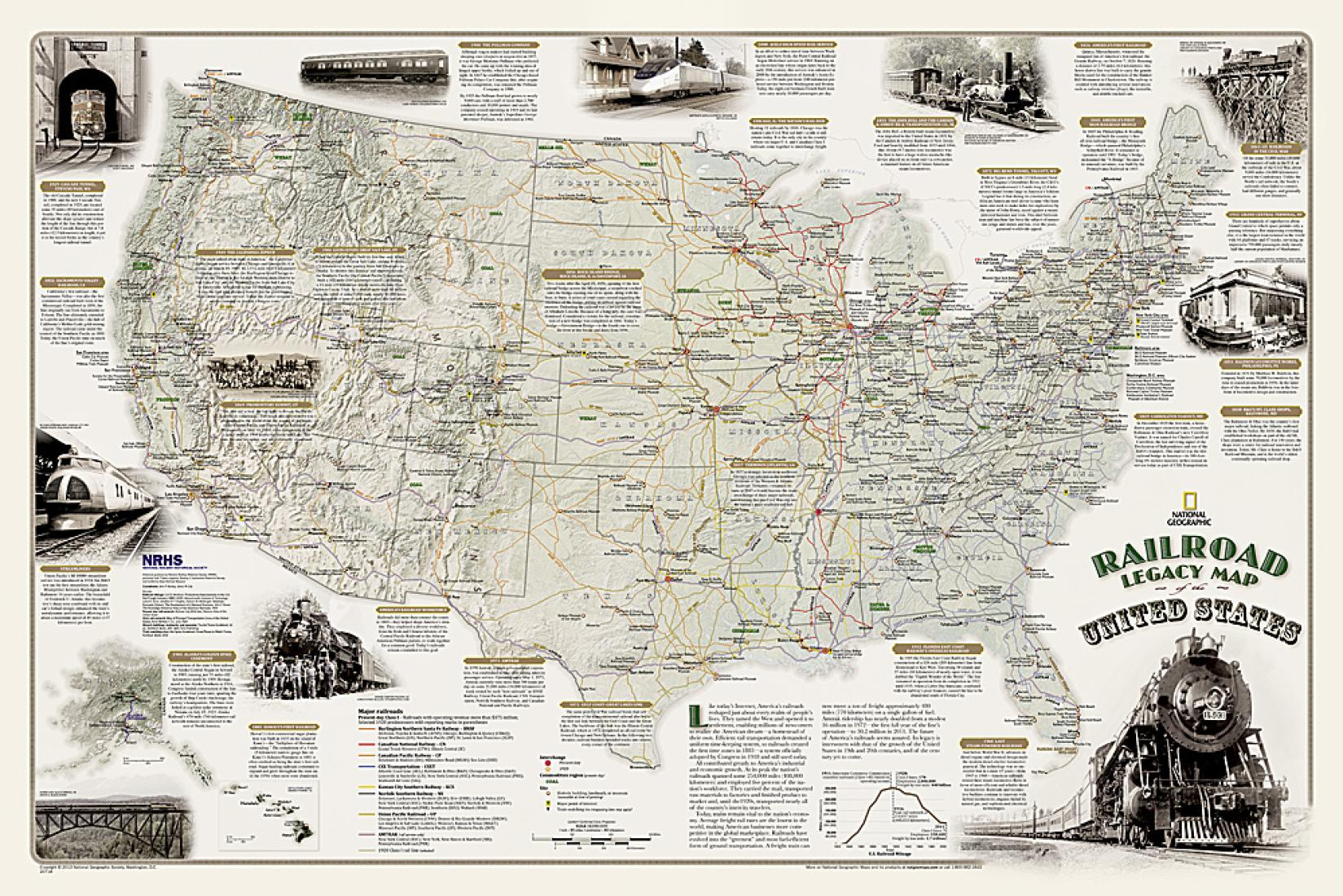 Railroad Legacy Map of the United States Wall Map - Laminated (36 x ...