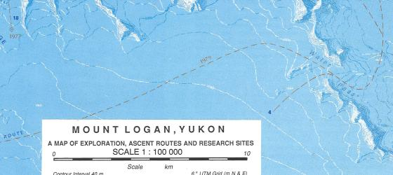 Mount Logan: A Map of Exploration, Ascent Routes and Research Sites by University of Calgary Press