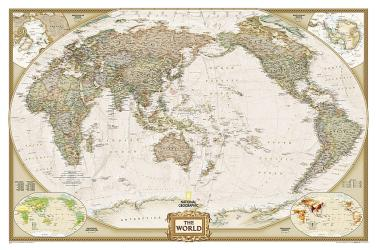 World, Executive, Pacific-Centered, Tubed by National Geographic Maps