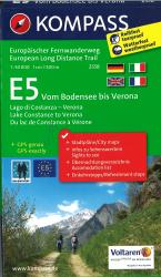 E5: From Lake Constance to Verona Hiking Map by Kompass