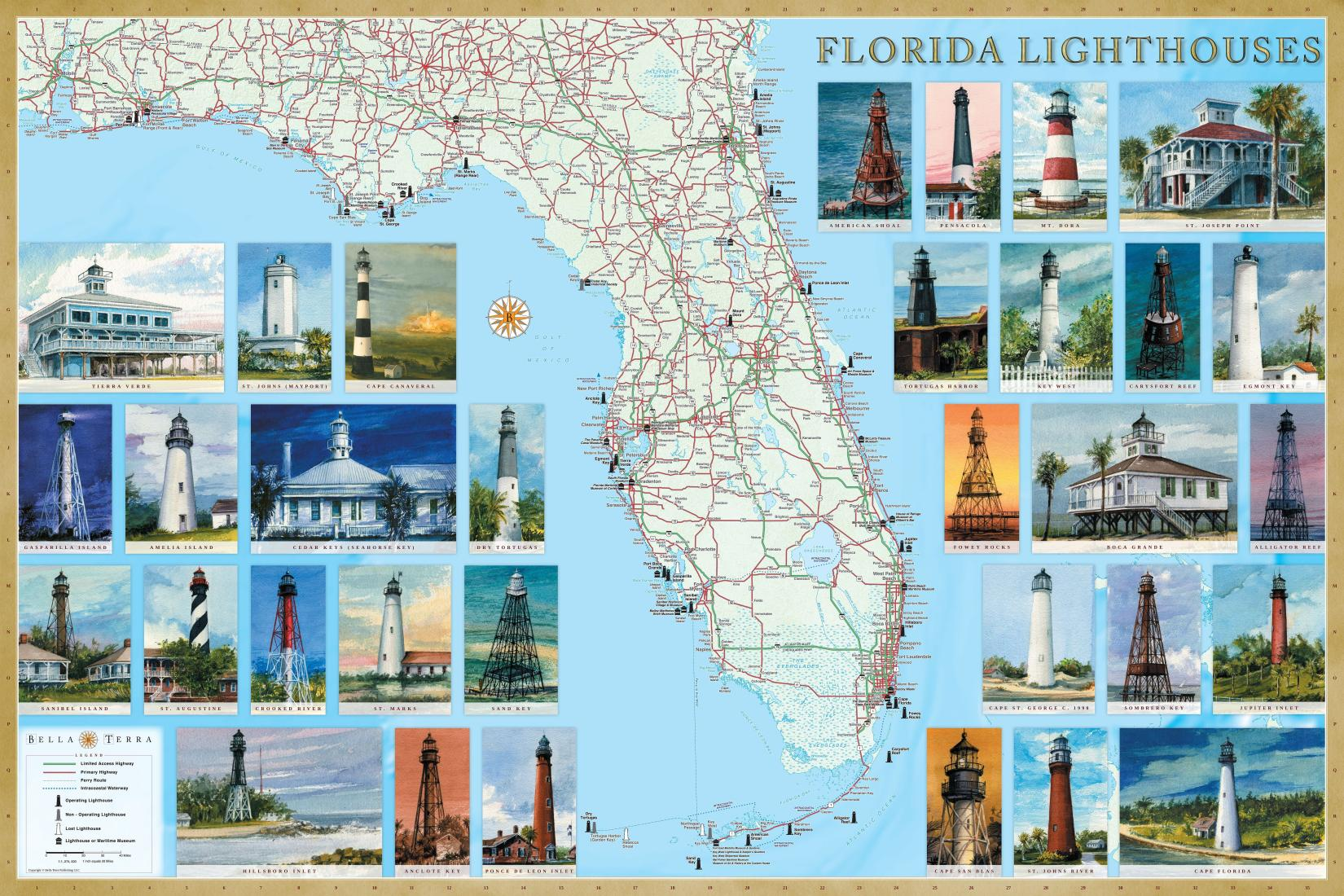 Florida Lighthouses Map Laminated Poster By Bella Terra Publishing LLC - Giant world map poster laminated