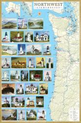 Northwest Lighthouses Map - Laminated Poster by Bella Terra Publishing LLC