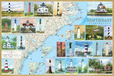 Southeast Lighthouses Map - Laminated Poster by Bella Terra Publishing LLC