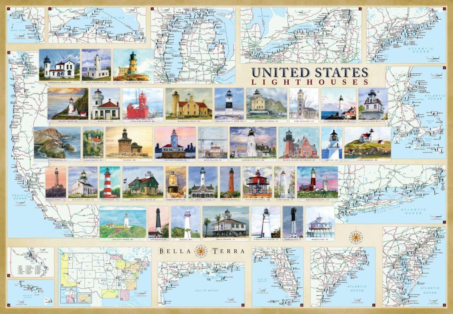 United States Lighthouses Map Laminated Poster By Bella Terra - United maps llc