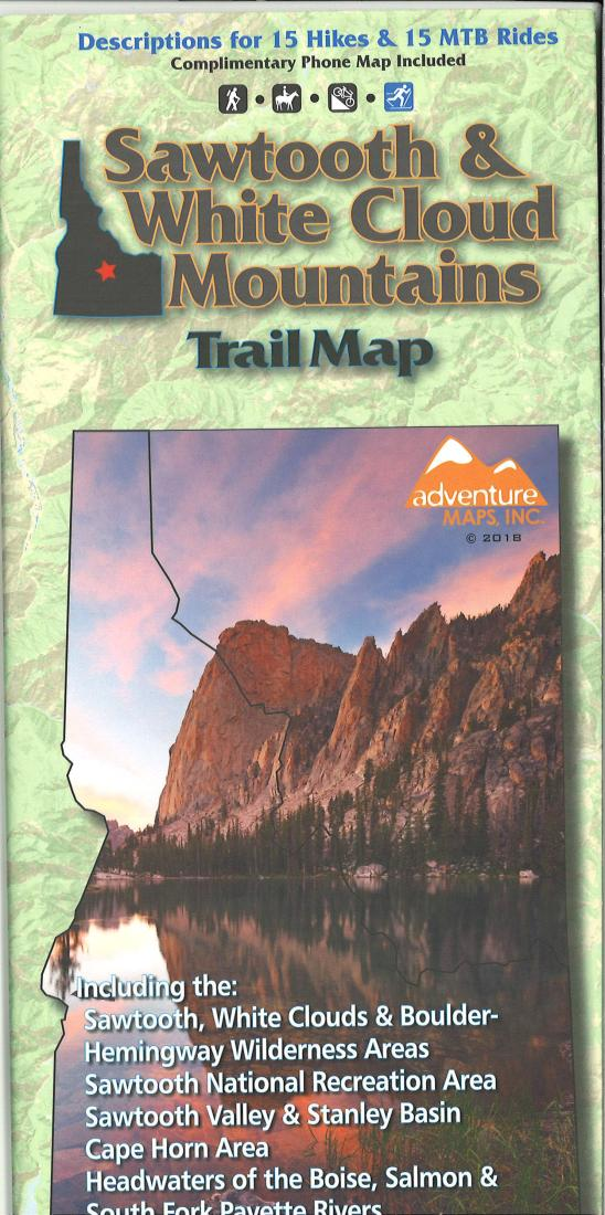 Sawtooth and White Cloud Mountains Trail Map by Adventure Maps