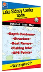 Lake Sidney Lanier North Fishing Map (North of Browns Bridge) by Fishing Hot Spots