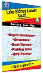 Lake Sidney Lanier South Fishing Map (Dam to Browns Bridge) by Fishing Hot Spots