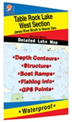 Table Rock Lake-West (James River Mouth to Beaver Dam) Fishing Map by Fishing Hot Spots