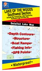 Lake of the Woods Southwest Fishing Map, Lake (incl. Big/Little Traverse Bay - MN/ONT) by Fishing Hot Spots