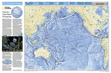 Pacific Ocean Floor Wall Map (31.75 x 20.75 inches) by National Geographic Maps