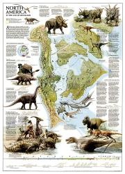 Dinosaurs of North America Wall Map (22.25 x 30.5 inches) by National Geographic Maps