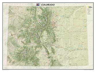 Colorado Wall Map - Laminated (40.5 x 30.25 inches) by National Geographic Maps