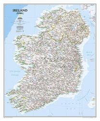 Ireland Classic Wall Map - Laminated (30 x 36 inches) by National Geographic Maps