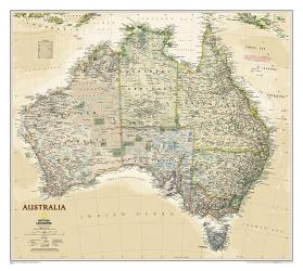 Australia Executive Wall Map (30.25 x 27.25 inches) (Tubed) by National Geographic Maps