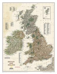 Britain and Ireland Executive Wall Map - Laminated (23.5 x 30.25 inches) by National Geographic Maps