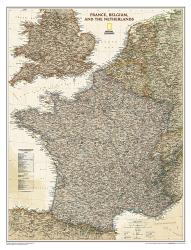 France, Belgium, and The Netherlands Executive Wall Map - Laminated (23 x 30 inches) by National Geographic Maps