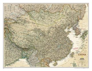 China Executive Wall Map - Laminated (30.25 x 23.5 inches) by National Geographic Maps