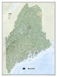 Maine Wall Map - Laminated (30.25 x 40.5 inches) by National Geographic Maps