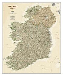 Ireland Executive Wall Map - Laminated (30 x 36 inches) by National Geographic Maps