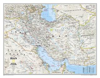 Iran Classic Wall Map (30.25 x 23.5 inches) (Tubed) by National Geographic Maps