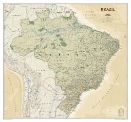 Brazil Executive Wall Map (41 x 38 inches) (Tubed) by National Geographic Maps