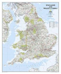 England and Wales Classic Wall Map (30 x 36 inches) by National Geographic Maps