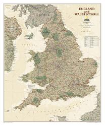 England and Wales Executive Wall Map (30 x 36 inches) by National Geographic Maps