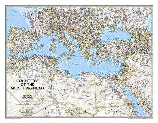 Countries of the Mediterranean Classic Wall Map (30.25 x 23.5 inches) (Tubed) by National Geographic Maps