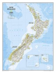 New Zealand Classic Wall Map - Laminated (23.5 x 30.25 inches) by National Geographic Maps