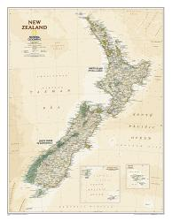 New Zealand Executive Wall Map - Laminated (23.5 x 30.25 inches) by National Geographic Maps