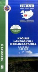 Kjolur, Langjokull, Kerlingarfjoll hiking map by Mal og menning