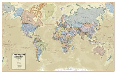 Hemispheres Boardroom Series World Laminated Wall Map by Round World Products, Inc.