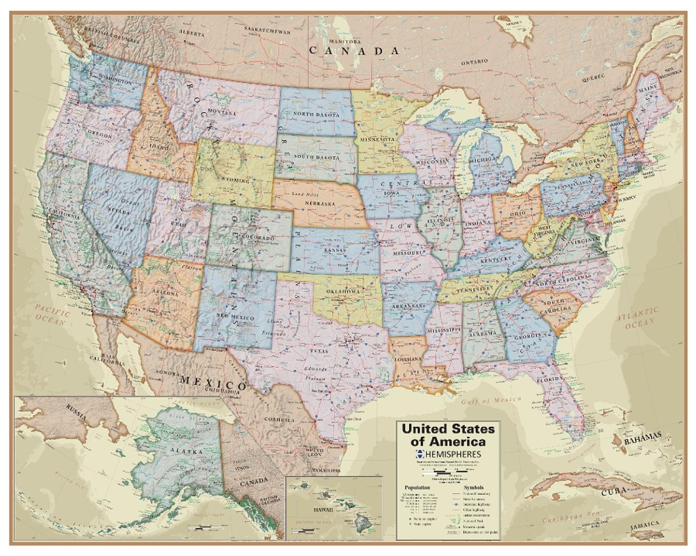 Hemispheres Boardroom Series United States Laminated Wall Map by Round  World Products, Inc.