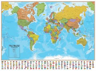 Blue Ocean Series Bi-Lingual French/English World Laminated Wall Map by Round World Products, Inc.