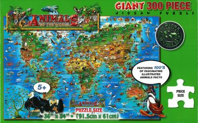 Dino's Animals of the World, 300 Piece Jigsaw Puzzle by Dino Maps
