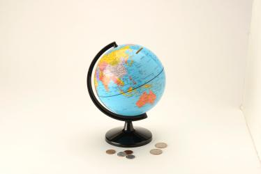 "Save the World Coin Bank, 6"" x 7.5"" by Round World Products, Inc."