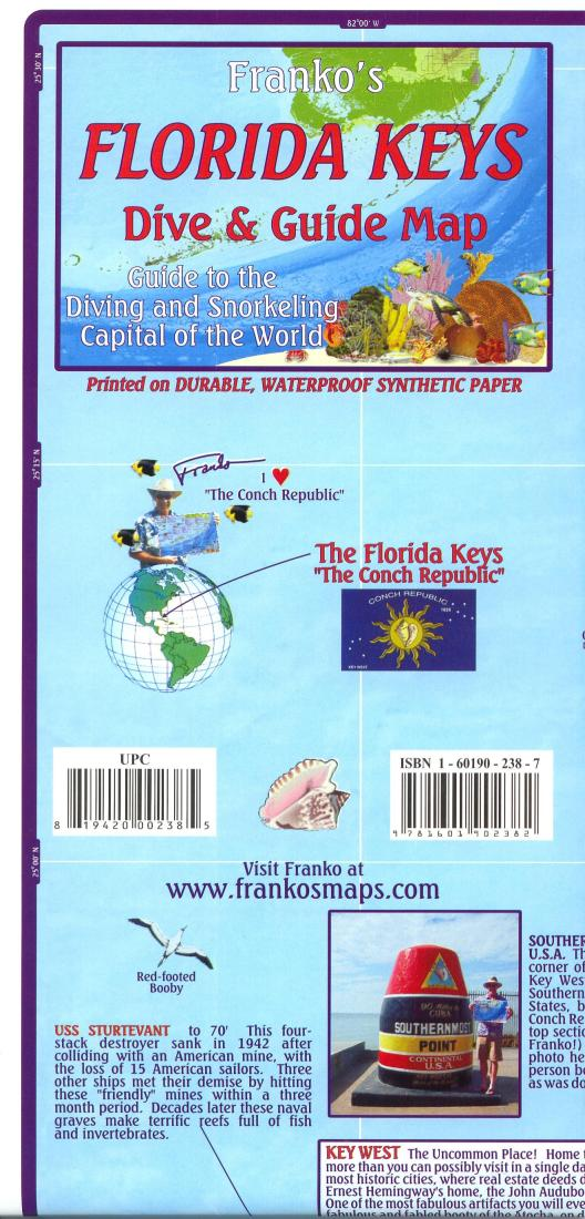 Map Of The Florida Keys.Florida Map Florida Keys Guide And Dive Folded 2010 By Frankos