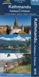 Kathmandu to Pokhara & Chitwan, Nepal Touring Map by Himalayan MapHouse Pvt. Ltd